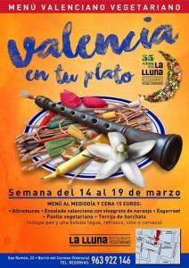 La cocina vegetariana en Fallas. Restaurante La Lluna, Valencia