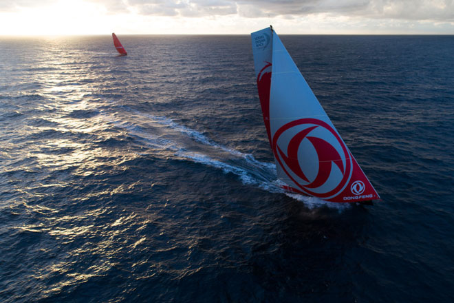 Leg Zero-Rolex Fastnet Race-Downwind after the rock. On board Dongfeng. Jeremie Lecaudey-Volvo Ocean Race