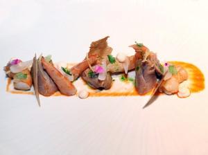 Langostino de Vinaròs, pintada, salsa coreana y cítricos, Restaurante Tierra