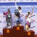 Gisela en el podio de China