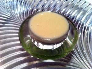 Espuma de parmesano y melocotón