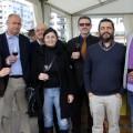 Ángel Ribés, alcalde de Benlloch (segundo por la izquierda) en la paraqda de Mas de Rander en el Mesón del Vino de las Fiestas de la Magdalena de Castellón