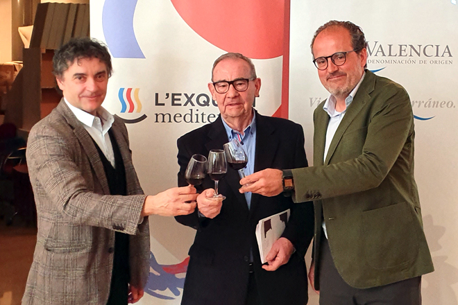 Presentación de Valencia Ruta del Vino, Francesc Colomer, Cosme Gutiérrez y Miguel Velázquez