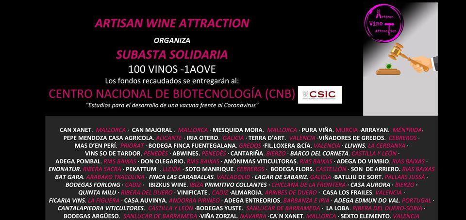 subasta covid Artisan Wine Attraction