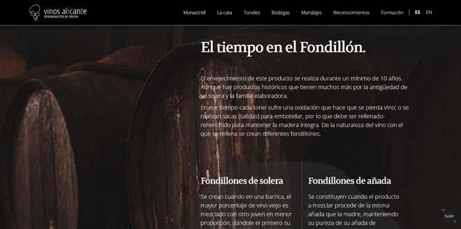 Los vinos de Fondillón renuevan su Web